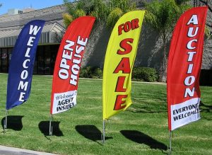 outdoor flag signs for business promotion